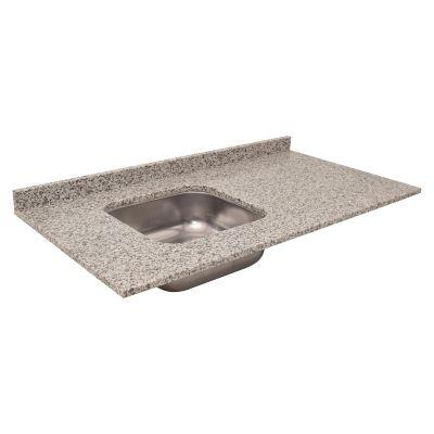 Mesada bacha izquierda de granito 120 x 55 cm gris