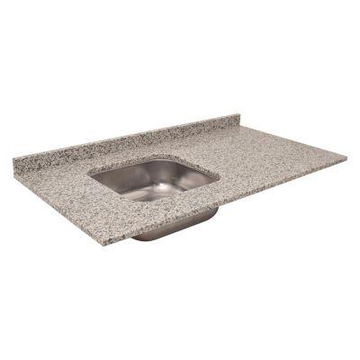 Mesada bacha izquierda de granito 105 x 55 cm gris