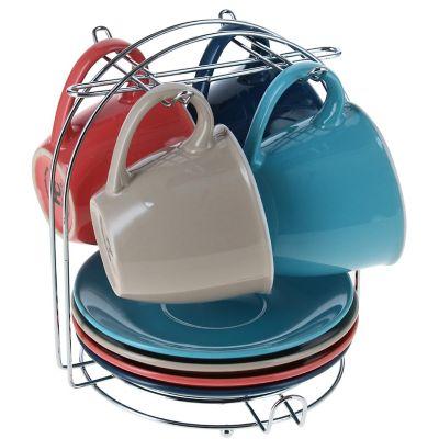 Set de 4 tazas 160 cc y 4 platos multicolor
