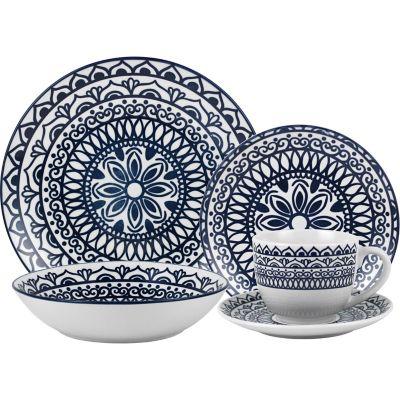 Juego de vajilla de cerámica Mandala azul 20 piezas