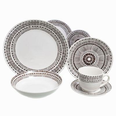 Juego de vajilla de cerámica Mandala café 20 piezas