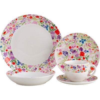 Juego de vajilla de cerámica Floral 20 piezas