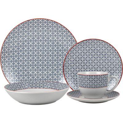 Juego de vajilla de cerámica Geométrico azul 20 piezas
