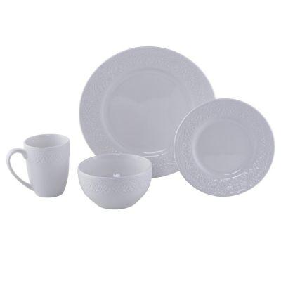 Juego de vajilla de cerámica textura blanco 16 piezas