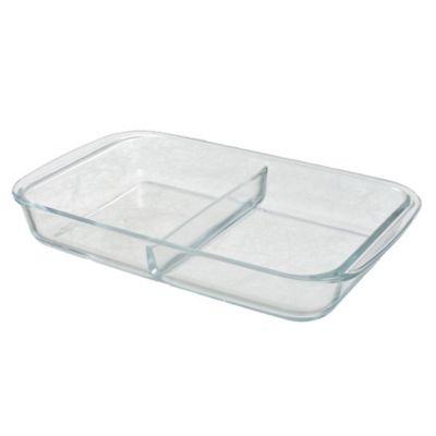 Asadera de vidrio rectangular con divisiones 2,2 L