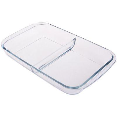 Asadera de vidrio rectangular con divisiones 2,9 L