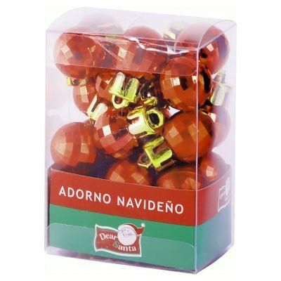 Set de esferas 24 unidades 4 cm Diamante Rojo