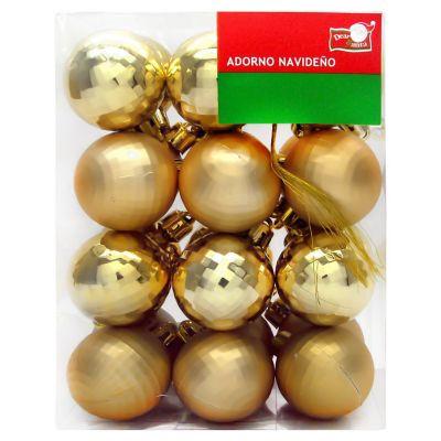 Set de esferas 24 unidades 4 cm Diamante Dorado