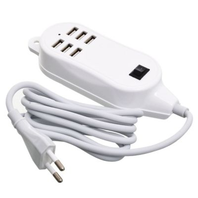 Zapatilla 6 USB 1,5 m blanca