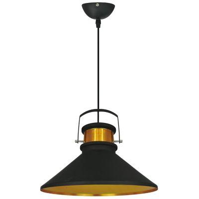 Lámpara colgante medium negro y dorado