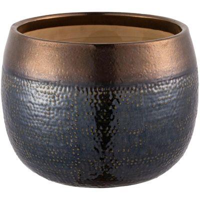 Maceta Aisea oliva y dorado 30 x 23 cm