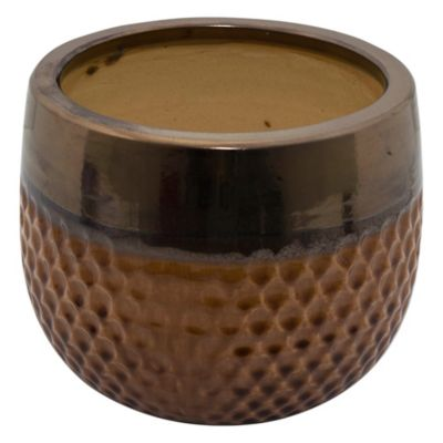 Maceta Kura tabaco y dorado 30 x 23 cm