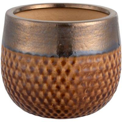 Maceta Kura tabaco/dorado 22 x 18 cm