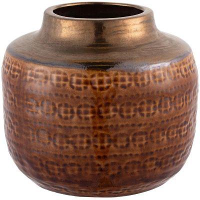 Florero Kura tabaco/dorado 22 x 19 cm