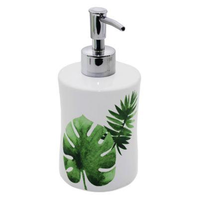 Dispensador de jabón Hojas Haru blanco y verde