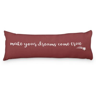 Almohadón decorativo Make your Dreams 100 x 35 cm bordo y blanco