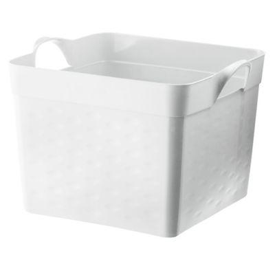 Canasto organizador de plástico flexible cuadrado blanco 22 L
