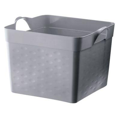 Canasto organizador de plástico flexible cuadrado gris 22 L