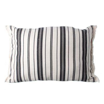 Almohadón decorativo rústico Rayas 60 x 40 cm blanco y negro