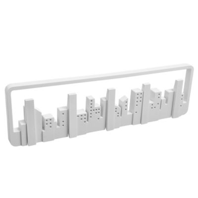 Perchero de pared Skyline con 5 ganchos de plástico blanco