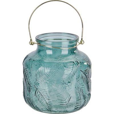 Portavela Tealight de vidrio verde 20 cm
