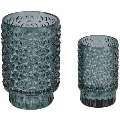Portavela vaso Tex verde 13 cm