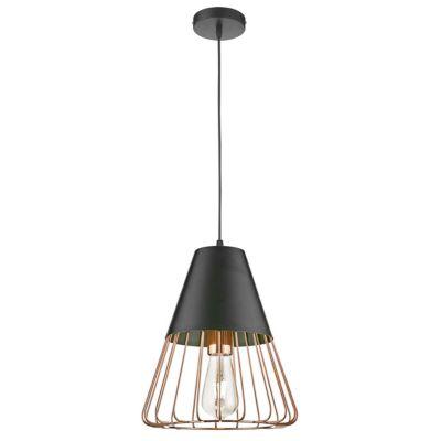 Lámpara colgante Jonko dorado y negro 1 luz E27