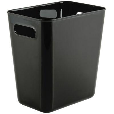 Papelero de plástico rectangular negro