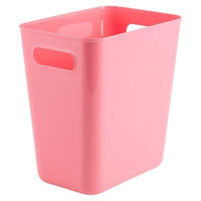 Papelero de plástico rectangular rosado