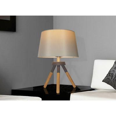 Lámpara de mesa Shelbys natural y gris 1 luz E27