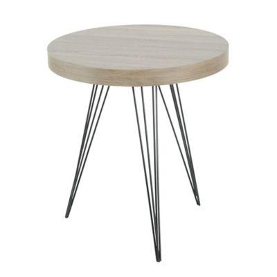 Mesa lateral de madera y metal redonda madera