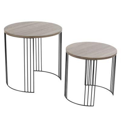 Set de 2 mesas ratonas de madera y metal redondas madera apilables