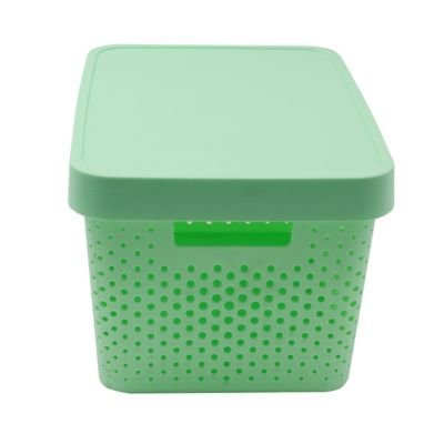 Canasto organizador de plástico con tapa menta 17 L