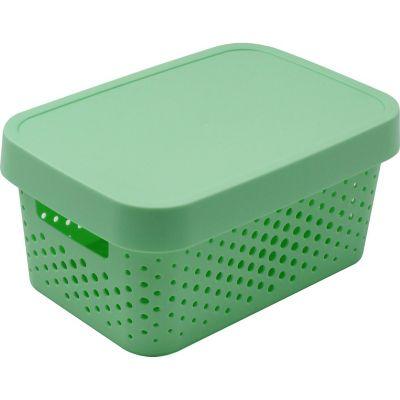 Caja organizadora de plástico con tapa menta 4,5 L