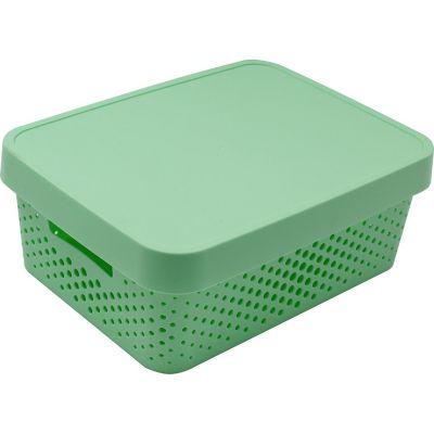 Canasto organizador de plástico con tapa menta 11 L