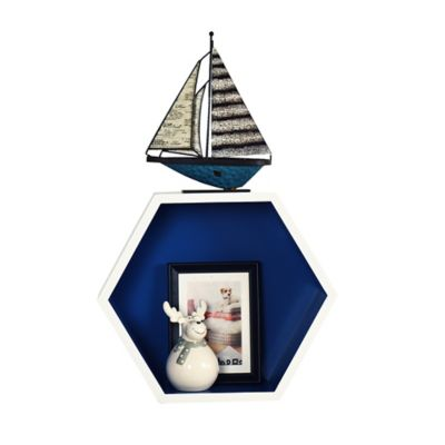 Estante de MDF hexagonales blanco y azul