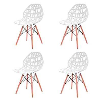 Pack de 4 sillas de comedor Akron blancas