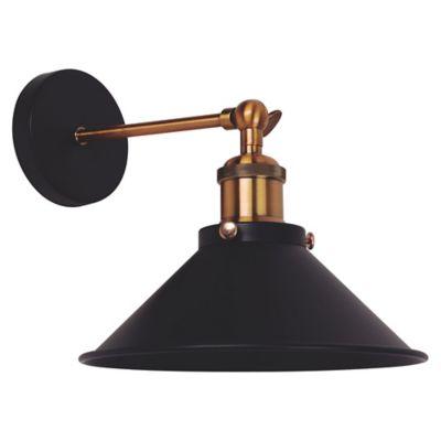 Aplique campana 1 luz E27 negra y bronce
