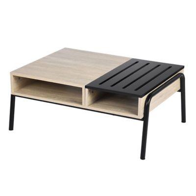 Mesa ratona Aurora de acero rectangular natural y negro con 2 estantes