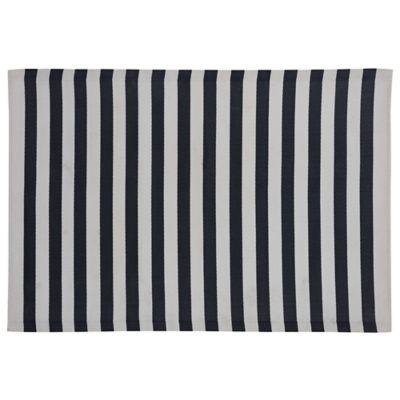 Alfombra de terraza New 180 x 120 cm negra y blanca