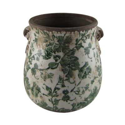 Florero cerámica g. asas verde