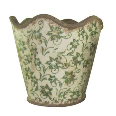 Maceta de cerámica borde ondulado