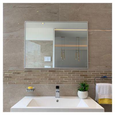 Espejo de baño con marco de aluminio 80 x 50 cm