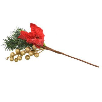 Pick Estrella Federal brillante con Baya Rojo y Verde 32 cm