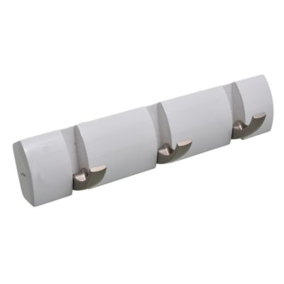 Perchero de pared Flip con 3 ganchos de madera blanco