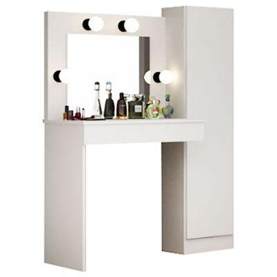 Tocador Tati con espejo y luces de MDP blanco