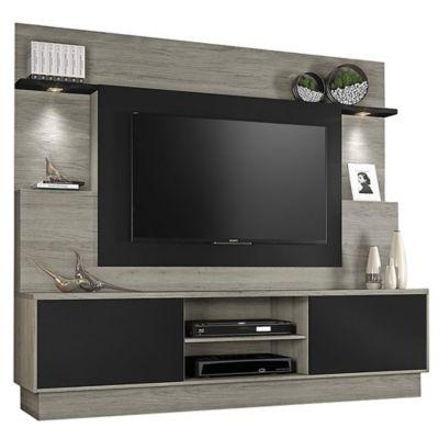 Rack de TV Accord carvalho y negro 180 x 200 x 42 cm