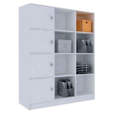 Biblioteca con estantes y puertas de MDP blanco