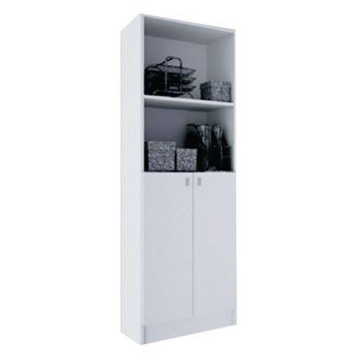 Biblioteca con puertas de MDP blanca