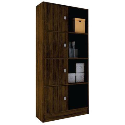 Biblioteca con puertas y estantes de MDP castaño